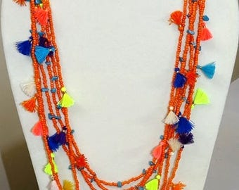 Necklace/Tassel & bead twin Long orange necklaces/Trending jewellery/Boho necklace/seed bead long necklace/Beach jewellery