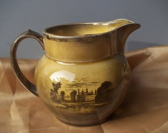 Antique Ridgway England Lusterware Creamer/Pitcher London Parliment Ships FREE SHIPPING