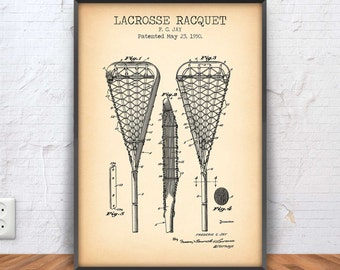 LACROSSE RACQUET poster, lacrosse patent, lacrosse blueprint, lacrosse illustration, lacrosse decor, lax, sport decor, stick, #1022