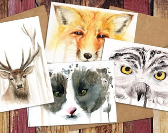 Beautiful Beasts Watercolour Greetings Cards x4 - Birthday, Christmas, Any Occasion