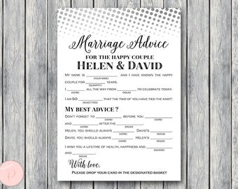 Silver Marriage advice cards, Marriage advice cards, Wedding Mad Libs, Bridal Shower Mad Libs, Bridal Mad Libs, Mad lib advice TG00 TH76