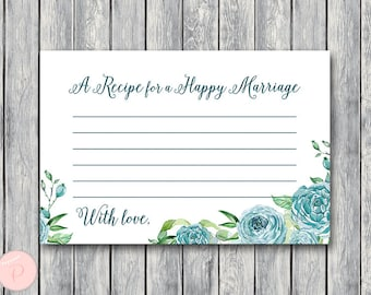 Teal Floral A Recipe for a Happy Marriage Printable Card, Wedding Shower, Bridal shower game activity, Printable Game TH77