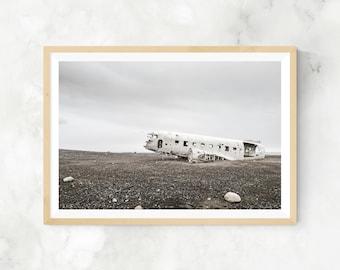 Icelandic landscape, iceland plane crash, sólheimasandur plane, iceland landscape, landscape print, iceland photography, plane photography