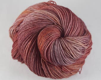 Hand Dyed Sock Yarn, hand dyed wool, tonal sock yarn, nylon sock yarn, red, burgundy, mauve