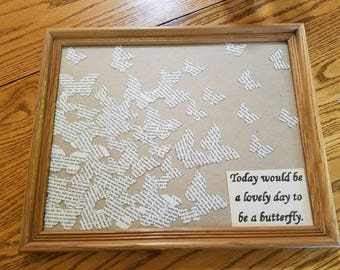 Cute butterfly wall art/ book art/ book pages art/ picture/ the notebook wall art