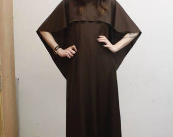 Vintage Dark Brown 1970s Long Maxi Dress with Cape