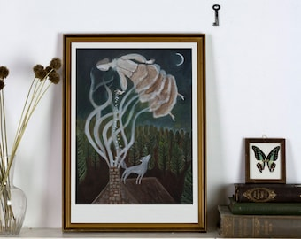 The Moth Fairy - Giclée Art Print - Dreamy Folklore open edition art print-witchy decoration fairy tale dreamy illustration wall art