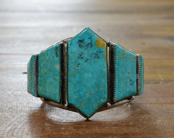 Large Turquoise Stones Sterling Silver Cuff Bracelet
