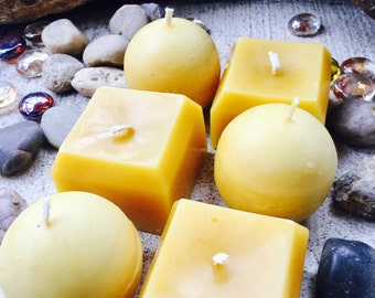 100% Pure beeswax candles votive gift set. 3 Square and 3 Sphere candles