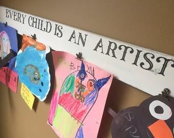 Art Display - Rustic Home Decor - Every Child Is An Artist - Art Display Board - Kids Art Display - Playroom Decor - Kitchen Decor - Art