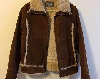 Wilsons Leather Brown Suede Sherling Coat