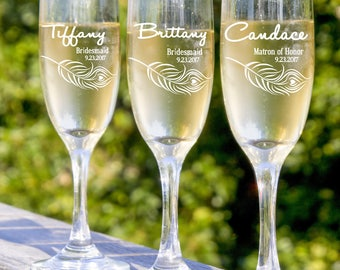 Personalized Champagne Flute, Bride and Bridesmaid Champagne Glass, Bridesmaids Gifts, Champagne Glasses, 12 Toasting Glasses, Wedding Favor