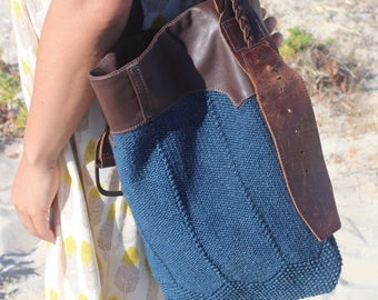 Up cycled knit and leather, up cycled belt, hand made shoulder bag