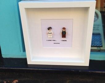 Star Wars Wedding Replica Lego Princess Leia & Han Solo Names / Dates Personalised Wall Art Box Frame wedding engagement or anniversary gift