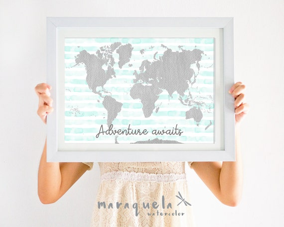 WORLD MAP illustration WATERCOLOR,light blue-green stripes gray map,'Adventure awaits',baby shower,nursery decor,kids room,lovely quote,gift