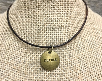 Karma Leather Choker Style Necklace