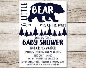 "Bear Baby Shower Invitation - 5"" x 7"" - Digital File"