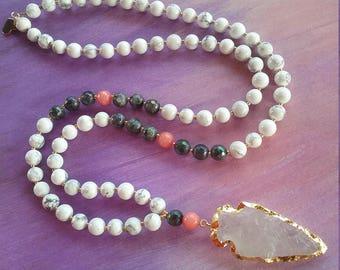 Clear quartz Arrowhead necklace, arrowhead boho necklace,  beaded arrowhead necklace