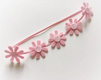 Daisy 100% wool felt flower crown headband - skinny headband, toddler headband