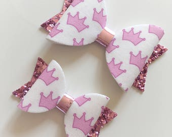 Fabric felt cute small or medium pink princess crown hair bow - toddler bow, alligator clip