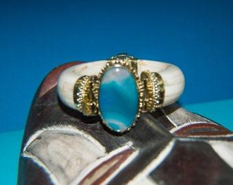 Gorgeous two tone blue ox bone bracelet E10