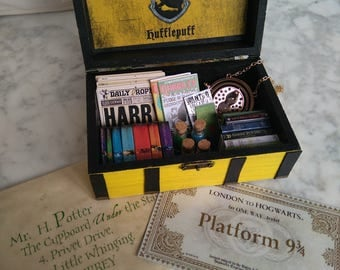 Harry Potter, Hufflepuff, FULL!!, Harry Potter Jewelry, Hufflepuff Jewelry Box, Harry Potter Inspired Trunk, Hogwarts Box, Slytherin Box
