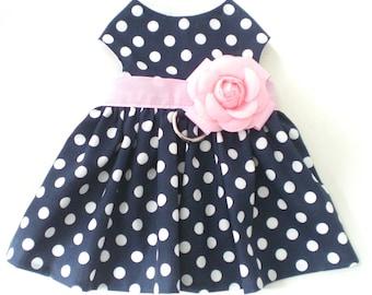 Navy Polka Dots Pink Floral Pet dog Apparel Clothing Harness Dress XXXS-L