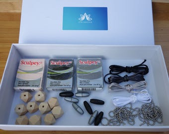 DIY gift kit, necklace DIY kit, DIY kit, diy gifts, diy jewellery kit, diy jewellery making kit, best friend gift, polymer clay jewellery