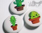 Pinback Button Succulent, Cactus Pins