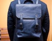 Leather backpack unisex backpack blue leather bag blue backpack minimalist backpack XXXL backpack school style women's backpack