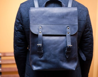 Leather backpack unisex backpack blue leather bag blue backpack minimalist backpack XXXL backpack school style women's backpack