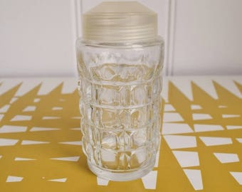 Splendid Vintage Glass Sugar shaker, flour shaker. Retro kitchen