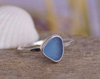 Cornflower Blue Seaglass Stack Ring! Sterling Silver