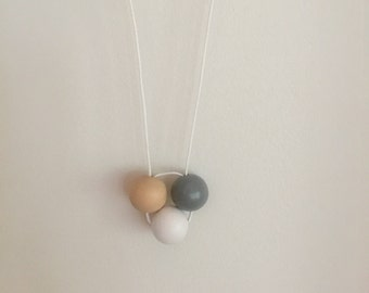 Wooden bead necklace // hand painted // white grey and natural