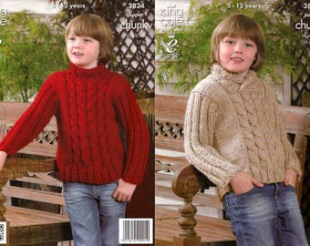 King Cole Knitting Pattern 3824~Cabled Sweaters~Super Chunky~26-32""