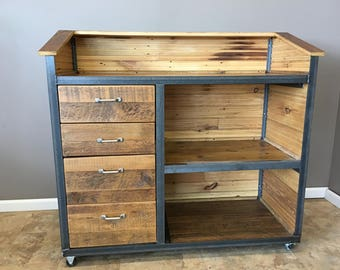 Restaurant Hostess Stand, Industrial Reclaimed Wood Podium, Self closing Drawers ,Fast and READY TO SHIP Within 48 Hours!