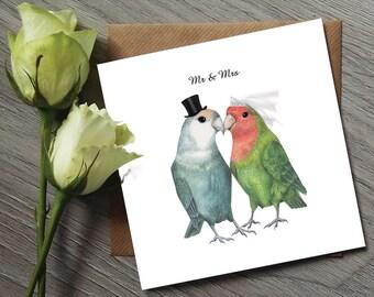 Lovebirds - Bird Wedding Card - Mr & Mrs Card - Bird Gifts - Bird Art - Unique Wedding Gift - Unique wedding gift for couple - Wedding Card