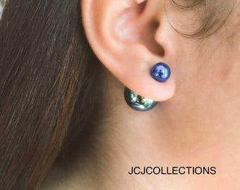 Double Side Blue Rainbow Earrings to ball