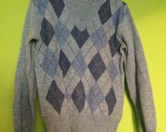 Vintage Shetland Wool Mix Jumper - Sky Blue - Mens Knitwear - Retro Fashion Sweater -  Small / Medium - Knitted Sweater - V Neck