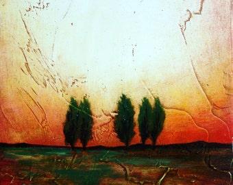 Tree landscape original oil painting on wood panel Sunburst oil painting Toomalatai fine art