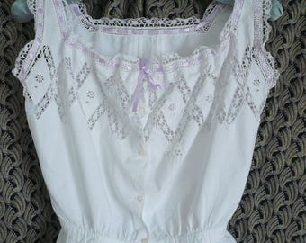 ANTIQUE FRENCH CAMISOLE, Handmade lace bodice, Antique French Lingerie, White Batiste Linen, 1910's.