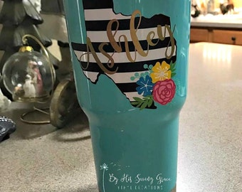 Black and White Striped Texas Decal w/ Name and Flower Swag   Yeti Decal   Flowers   Name Decal   Girly Decal   Corkcicle   Swell Bottle