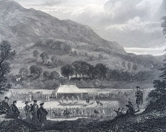 1870 ST FILLAN GAMES original antique print, Scotland History, 10 x 12 inches, Available Framed