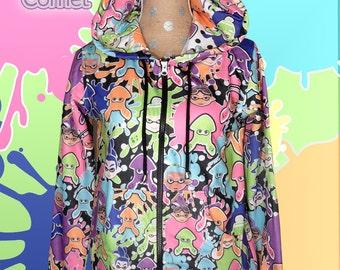 Splatoon Inspired Hoodie Zip up Jacket Or Pull Over Hoodie Inkling Womens & Mens Sizes Squid Kid *MADE 2 ORDER*