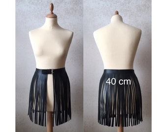 Leather fringe belt skirt black dress fits with a bag or boots bellydance overskirt rocker 40s sexy club wear, statement piece