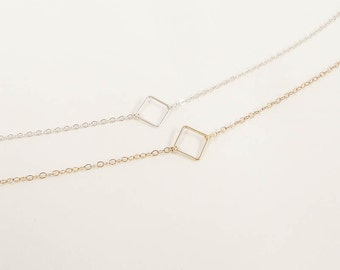 Simple Everyday Jewelry, Dainty Square  Necklace, Minimal necklaces, Modern Floating Square Necklace - Sterling silver and Gold filled