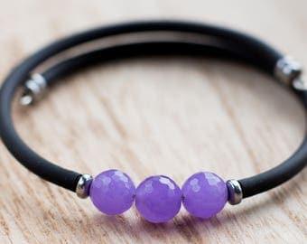 Purple Bracelet, Jade Bracelet,  Gemstone Bracelet, purple and back, lavender Jade, Jade Stone, Stones by Grace