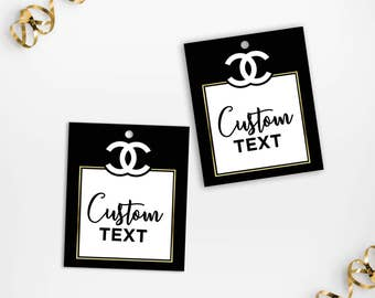 Printable Chanel Inspired Party Favor Tags, Black Gold Classy Birthday Party Printable Custom Thank You Favor Tags, Classy Shower Gift Tags