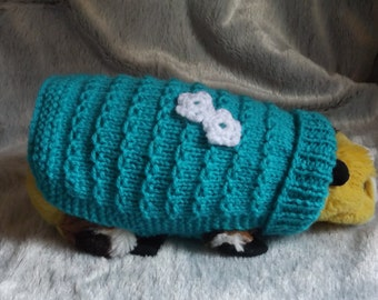 "6.5"" Guinea Pig Various Coloured Sweaters knitted in lilac, pink, teal,  hand knitted vest, Keep pets warm this fall/winter if outside"