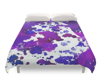 Watercolor Splash Duvet Cover, Bohemian Bedding, Paint Art, Hippie Gift, Purple Pattern, Abstract Paint, Colored Bed, Twin Full Queen King
